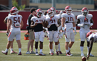 NWA Democrat-Gazette/ANDY SHUPE<br /> Arkansas linebackers Jake Yurachek, (from left), Hayden Henry, Cedric Johnson, Grant Morgan, McKinley Williams, Bumper Pool, and De'Jon Harris take part in a drill Tuesday, Aug. 13, 2019, during practice at the university practice facility in Fayetteville. Visit nwadg.com/photos to see photographs from the practice.