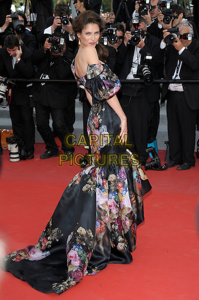 Bianca Balti.'Lawless' screening at the 65th  Cannes Film Festival, France 19th May 2012.full length black dress floral long maxi print off the shoulders strapless looking over shoulder back rear behind .CAP/PL.©Phil Loftus/Capital Pictures.