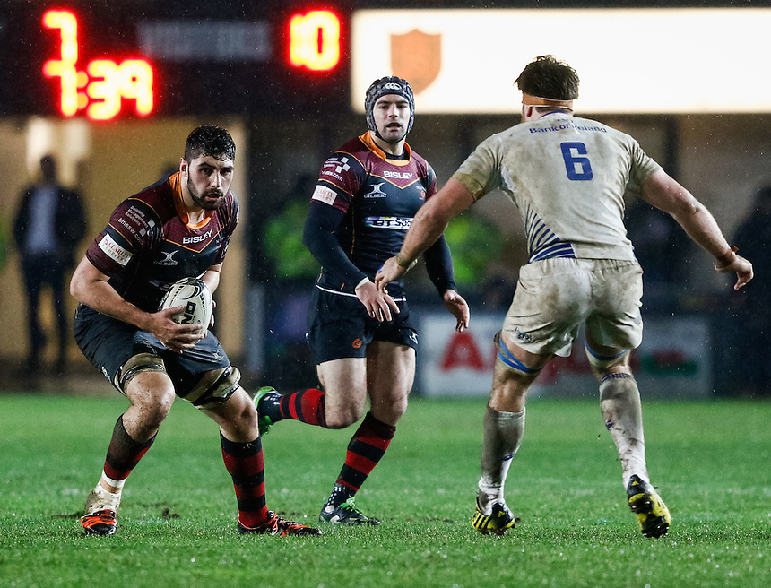 Newport Gwent Dragons' Lewis Evans<br /> <br /> Photographer Simon KIng/CameraSport<br /> <br /> Rugby Union - Guinness PRO12 Round 13 - Newport Gwent Dragons v Leinster - Friday 29th January 2016 - Rodney Parade - Newport<br /> <br /> &copy; CameraSport - 43 Linden Ave. Countesthorpe. Leicester. England. LE8 5PG - Tel: +44 (0) 116 277 4147 - admin@camerasport.com - www.camerasport.com