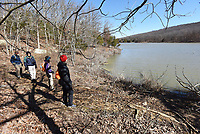 NWA Democrat-Gazette/FLIP PUTTHOFF <br /> Tom Mowry (from left), Gene Williams, Karen Mowry and Denise Nemec circle Lake Wilson on the 2-mile trail around the lake. The 28-acre lake, seen here in March, at Lake Wilson Park in Fayetteville is open for fishing and paddling.