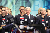 USA Team Members Zach and Dustin Johnsonon and Jim Furyk on stage at the Closing Ceremony after Sunday's Singles Matches of the 39th Ryder Cup at Medinah Country Club, Chicago, Illinois 30th September 2012 (Photo Colum Watts/www.golffile.ie)