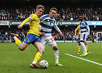 Leeds United's Jack Clarke competing with Queens Park Rangers' Josh Scowen<br /> <br /> Photographer Andrew Kearns/CameraSport<br /> <br /> The Emirates FA Cup Third Round - Queens Park Rangers v Leeds United - Sunday 6th January 2019 - Loftus Road - London<br />  <br /> World Copyright &copy; 2019 CameraSport. All rights reserved. 43 Linden Ave. Countesthorpe. Leicester. England. LE8 5PG - Tel: +44 (0) 116 277 4147 - admin@camerasport.com - www.camerasport.com
