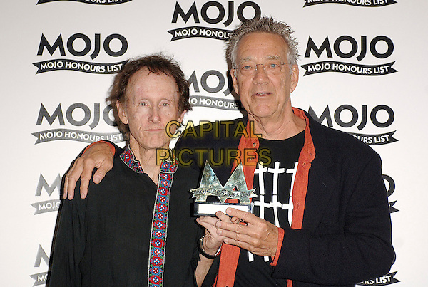 ROBBY KRIEGER & RAY MANZAREK - THE DOORS (Winners of The MOJO Hall Of Fame).The MOJO Honours List Ceremony, The Brewery,London, England..June 18th , 2007.half length award trophy black hand on shoulder glasses .CAP/BEL.©Belcher/Capital Pictures