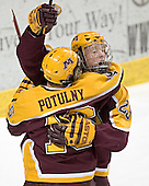 Ryan Stoa and Ryan Potulny celebrate Potulny's first goal of the game - The University of Minnesota Golden Gophers defeated the University of North Dakota Fighting Sioux 4-3 on Saturday, December 10, 2005 completing a weekend sweep of the Fighting Sioux at the Ralph Engelstad Arena in Grand Forks, North Dakota.