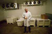 Izzy Yanay, founder and vice president of Hudson Valley Foie Gras, poses in a cold room holding a fatty liver at the farm in Ferndale, USA, 16 March 2006.