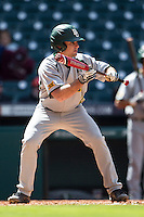 Baylor Bears shortstop Steven McLean (2) squares to bunt during Houston College Classic against the Hawaii Rainbow Warriors on March 6, 2015 at Minute Maid Park in Houston, Texas. Hawaii defeated Baylor 2-1. (Andrew Woolley/Four Seam Images)