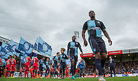 Anthony Stewart of Wycombe Wanderers heads onto the pitch during the Sky Bet League 2 match between Wycombe Wanderers and Portsmouth at Adams Park, High Wycombe, England on 28 November 2015. Photo by Andy Rowland.