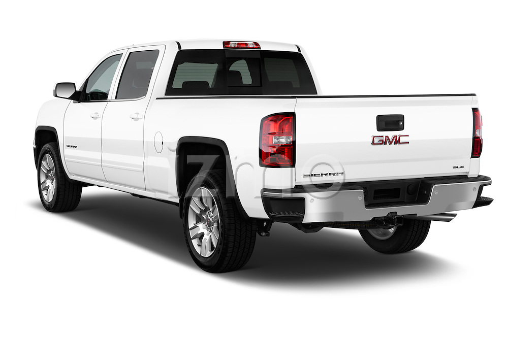 Rear three quarter view of a 2014 GMC Sierra 1500 SLE Crew Cab