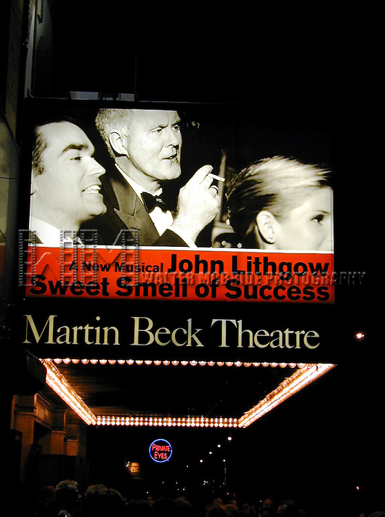 Theatre Marquee: JOHN LITHGOW.SPRING 2002.STARS IN THE NEW MARVIN HAMLISCH.BROADWAY MUSICAL, THE SWEET SMELL.OF SUCCESS AT THE MARTIN BECK THEATRE.NEW YORK CITY.