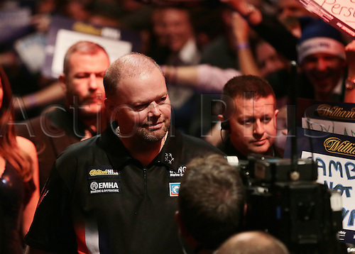 29.12.2015. Alexandra Palace, London, England. William Hill PDC World Darts Championship. Raymond van Barneveld enters the stage