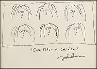 BNPS.co.uk (01202 558833)<br /> Pic: Fellows/BNPS<br /> <br /> ***Must Use Full Byline***<br /> <br /> A poignant doodle thought to be one of the last ever drawn by John Lennon before he was shot dead has emerged for sale for 20,000 pounds.<br /> <br /> Lennon scribbled the child-like drawing of six spectacled self portrait faces with his famous mantra 'give peace a chance' written underneath in 1979.<br /> <br /> The following year the former Beatle was murdered by killer Mark Chapman outside the Dakota apartment block in New York.<br /> <br /> The doodle is being sold alongside two of Lennon's biggest hit singles - Give Peace a Chance from 1969 and Imagine from 1971.<br /> <br /> Experts have tipped the 9ins by 7.5ins drawing to fetch &pound;20,000 when it goes under the hammer.