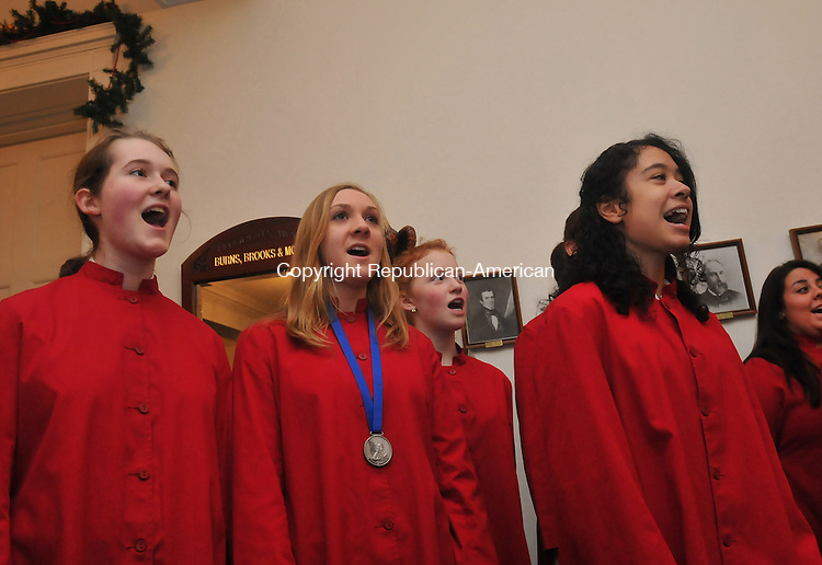 TORRINGTON, CT- 16 December 2009 - 121609IP08- (l to r) Samee Swartz, Becky Olivieri, Meredith Torrey and Sierra Labbe of the Chorus Angelicus &amp; Guadeamus perform songs at The Northwest Connecticut Chamber of Commerce's 2009 Holiday Gala in the Grand Ballrooms of Burns, Brooks &amp; McNeil in Torrington on Wednesday. Chorus Angelicus &amp; Guadeamus is a regional chorus that involves 120 singers of all ages.<br /> Irena Pastorello Republican-American