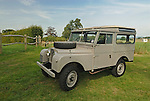 Very original historic 1950s Land Rover Series 1 88in Station Wagon. Exhibited at the Dunsfold Collection Open Day 2006, Dunsfold, England, UK. --- No releases available. Automotive trademarks are the proper, authorization may be needed for some uses. --- Information: Land Rover Series 1 88in Station Wagon belonging to the Dunsfold Collection; chassis number 111800622, registration number OSA 551, engine type 2.0 litre petrol, gearbox type 4 speed. Vehicle specification: This 1950s Sereis 1 Station Wagon has only covered 26,000 miles from new. The paint is all original, apart from the road wheels and front grill. The vehicle has spent its whole life on a private estate in Scotland, where it obviously led a very quiet life. It is slightly unusual in that the paint is early export grey. Vehicles of this age should be later dove grey..