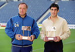 Dick Advocaat and Claidio Reyna collect Manager and Player of the Month awards, August 1999