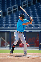 Miami Marlins Connor Scott (24) at bat during an Instructional League game against the Washington Nationals on September 26, 2019 at FITTEAM Ballpark of The Palm Beaches in Palm Beach, Florida.  (Mike Janes/Four Seam Images)