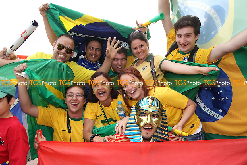 Brazilian and Egyptian fans are seen outside the stadium before kick-off - Brazil vs Egypt - Mens Olympic Football Tournament London 2012 Group E at the Millenium Stadium, Cardiff, Wales - 26/07/12 - MANDATORY CREDIT: Gavin Ellis/SHEKICKS/TGSPHOTO - Self billing applies where appropriate - 0845 094 6026 - contact@tgsphoto.co.uk - NO UNPAID USE.