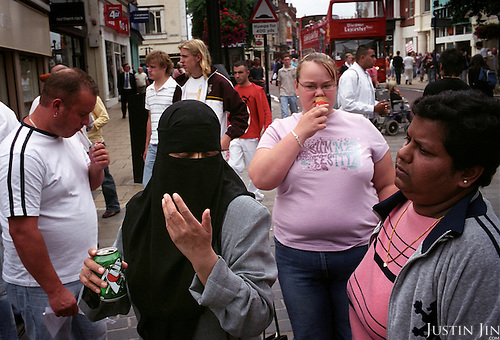 On a shopping street in the centre of Leicester City, UK.....Leicester is expected to be the first city in the UK to have a majority non-white population within the next few years. It is one of the most ethnically-diverse cities in Europe. ..