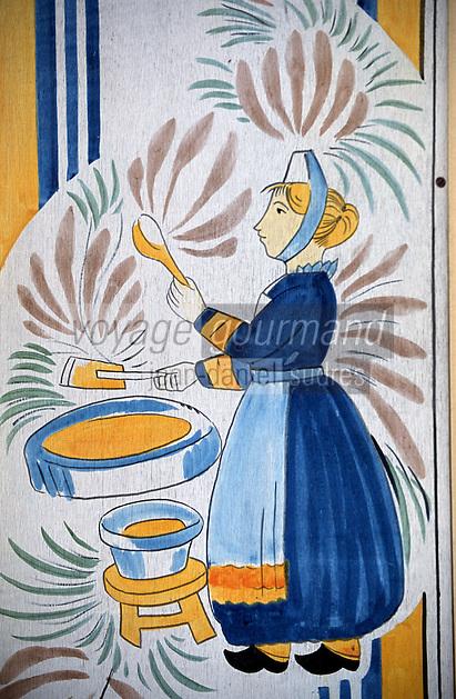Europe/France/Bretagne/29/Finistère/Brest: Bigoudenne et crêpes bretonnes - peinture enseigne créperie