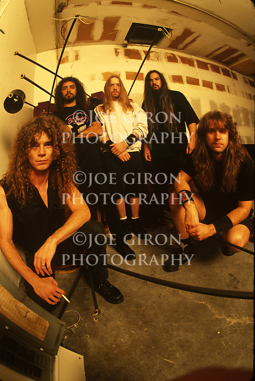Various portrait sessions of the rock band, Overkill