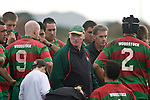 Waiuku coach Peter Summerville giving a stern halftime talk. Counties Manukau Premier rugby game between Waiuku & Ardmore Marist played at Waiuku on Saturday May 10th 2008..Ardmore Marist won 27 - 6 after leading 10 - 6 at halftime.