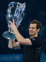 Andy Murray (GBR) with the ATP World Number One Tour Trophy after his win in the final against Novak Djokovic (SRB), ATP World Tour Finals 2016, Day Eight, O2 Arena, Peninsula Square, London, United Kingdom, 20th Nov 2016