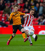7th March 2020; Bet365 Stadium, Stoke, Staffordshire, England; English Championship Football, Stoke City versus Hull City; James Chester of Stoke City clears the ball away from Ryan Tafazolli of Hull City