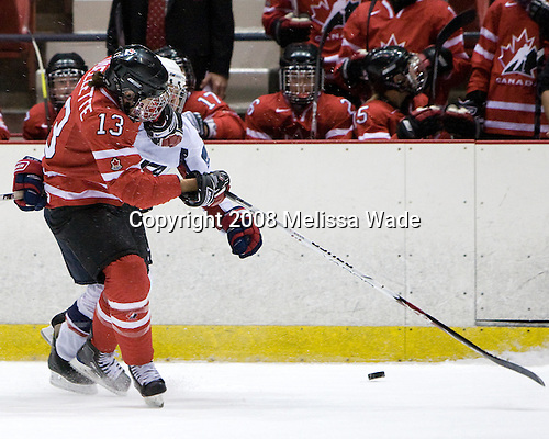 Caroline Ouellette (Canada - 13), ? - Team USA defeated Team Canada 4-3 (so) to win the 2008 Four Nations Cup on Sunday, November 9, 2008, in the 1980 Rink in Lake Placid, New York.