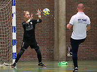 20190915– HALLE , BELGIUM : FP Halle-Gooik Girls A goal keeper and trainer Glenn Moons are pictured warming half during the half time of the Belgian Women's Futsal D1 match between FP Halle-Gooik A and FP Halle-Gooik B on Sunday 15th 2019 at the De Bres Sport Complex in Halle, Belgium. PHOTO SPORTPIX.BE | Sevil Oktem