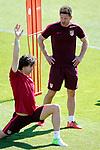 Atletico de Madrid's coach Diego Pablo Cholo Simeone (r) Tiago Mendes during training session. April 11,2017.(ALTERPHOTOS/Acero)