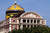Manaus, Brazil. Manaus opera house with brightly-coloured tiled dome in Brazilian colours;  Amazonas State.