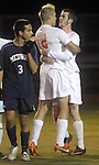 (Worcester Ma 111613) Belchertown 12, Nicholas Drost, celebrates with 16, Samuel Stroman,  who scored the tying goal knotting the game at 1 all  in the first half,  during the MIAA Divsion Three Boys Soccer Final between Belchertown High and Medway High, Saturday night at Foley Field in Worcester. (Jim Michaud Photo) For Sunday
