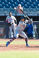 Scottsdale Scorpions pinch hitter Andres Gimenez (13), of the New York Mets organization, at bat during an Arizona Fall League game against the Peoria Javelinas at Peoria Sports Complex on October 18, 2018 in Peoria, Arizona. Scottsdale defeated Peoria 8-0. (Zachary Lucy/Four Seam Images)