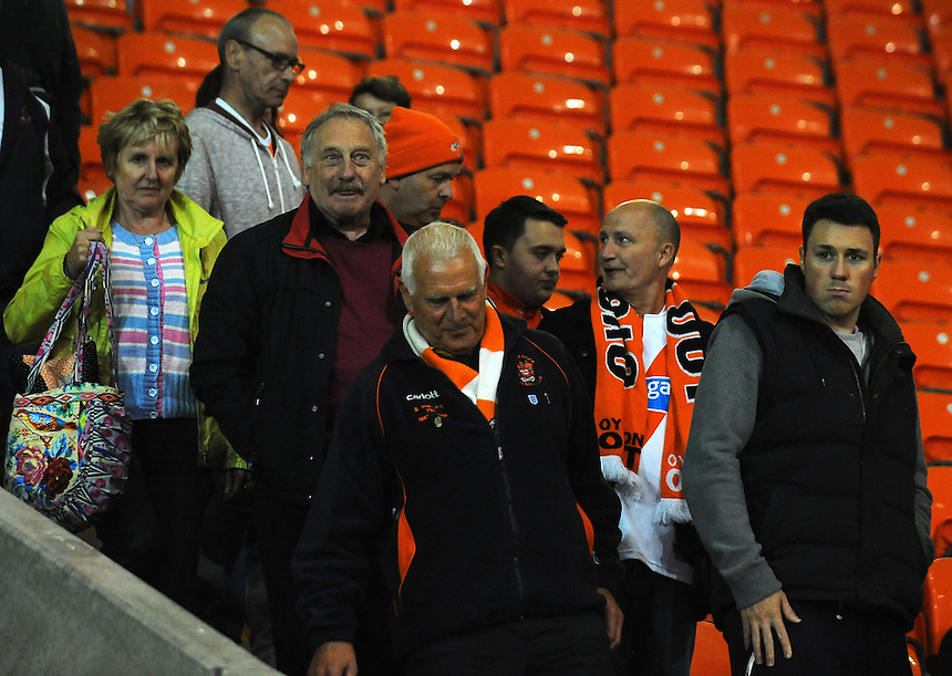 Blackpool fans look dejected following their sides 2-1 defeat<br /> <br /> Photographer Kevin Barnes/CameraSport<br /> <br /> Football - The Football League Sky Bet League One - Blackpool v Burton Albion - Tuesday 18th August 2015 - Bloomfield Road - Blackpool<br /> <br /> &copy; CameraSport - 43 Linden Ave. Countesthorpe. Leicester. England. LE8 5PG - Tel: +44 (0) 116 277 4147 - admin@camerasport.com - www.camerasport.com