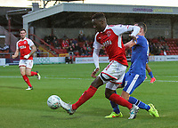 Fleetwood Town's Devante Cole shoots at goal  <br /> <br /> Photographer Andrew Kearns/CameraSport<br /> <br /> The Carabao Cup First Round - Fleetwood Town v Carlisle United Kingdom - Tuesday 8th August 2017 - Highbury Stadium - Fleetwood<br />  <br /> World Copyright &copy; 2017 CameraSport. All rights reserved. 43 Linden Ave. Countesthorpe. Leicester. England. LE8 5PG - Tel: +44 (0) 116 277 4147 - admin@camerasport.com - www.camerasport.com