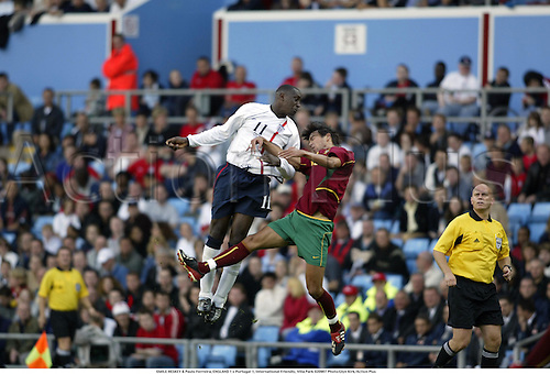 EMILE HESKEY & Paulo Ferreira, ENGLAND 1 v Portugal 1, International Friendly, Villa Park 020907 Photo:Glyn Kirk/Action Plus...Soccer.Football 2002.header headers.