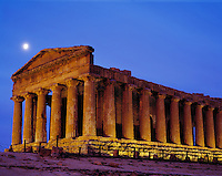 Temple of the Concord & Setting Moon, Valley of the Temples, Island of Sicily, Italy     Greek ruins