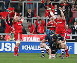 Munster players celebrate as Sale players fall to there knees - European Rugby Champions Cup - Sale Sharks vs Munster -  AJ Bell Stadium - Salford- England - 18th October 2014  - Picture Simon Bellis/Sportimage