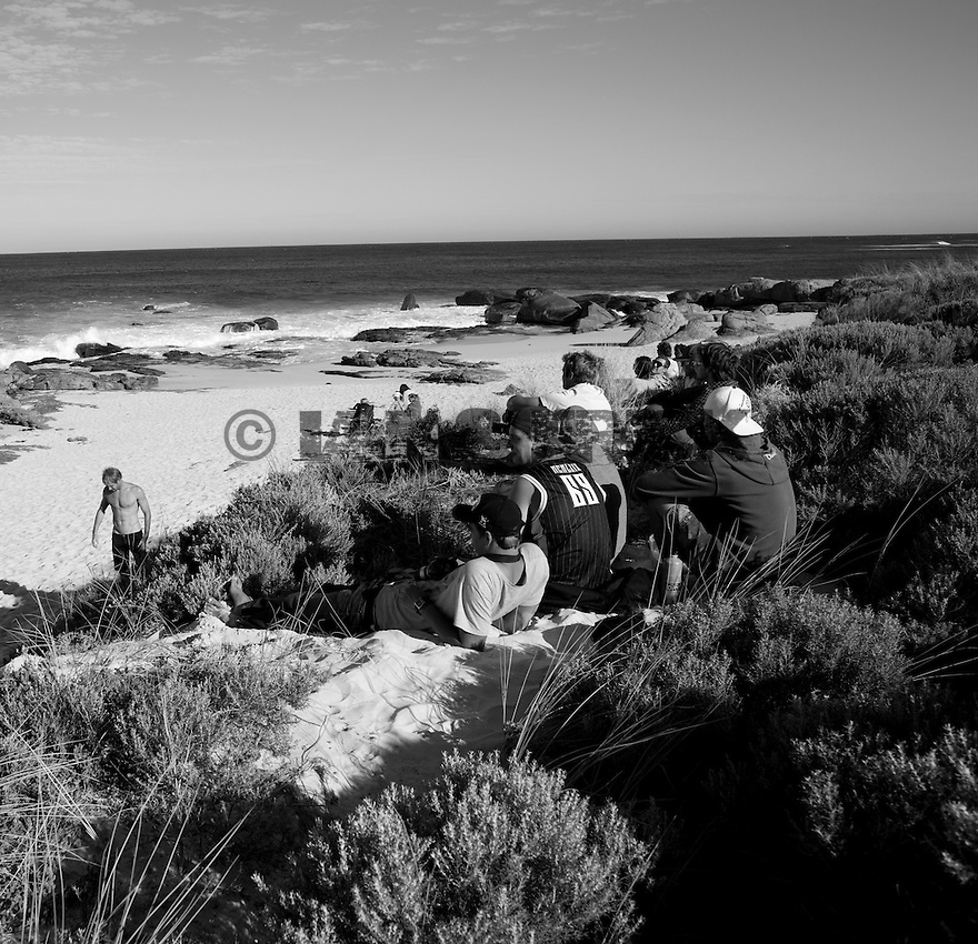 Crowds looking at the competition at Gas Bay in Margaret River in Western Australia.