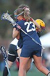 Santa Barbara, CA 02/18/12 - Kristin Lund (BYU #23) and Brooke Smith (BYU #6) in action during the Arizona State vs BYU matchup at the 2012 Santa Barbara Shootout.  BYU defeated Arizona State 10-8.