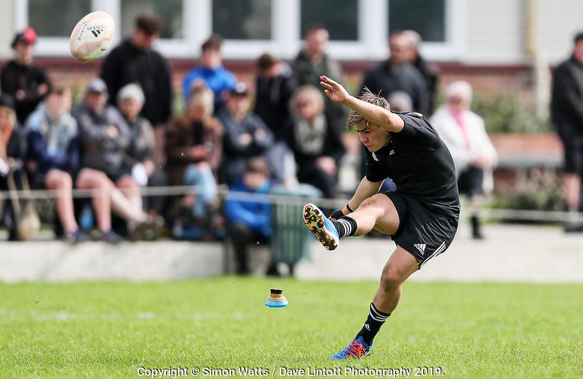 Aidan Morgan kicks for goal during the rugby union match between New Zealand Schools and Fiji Schools at Hamilton Boys' High School in Hamilton, New Zealand on Monday, 30 September 2019. Photo: Simon Watts / lintottphoto.co.nz
