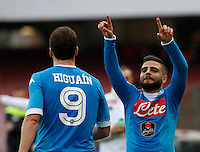 Napoli's Lorenzo Insigne celebrates after scoring during the  italian serie a soccer match,between SSC Napoli and Empoli      at  the San  Paolo   stadium in Naples  Italy , January 31, 2016