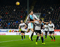 Burnley's Ashley Barnes battles in the air with Fulham's Tim Ream and Joe Bryan <br /> <br /> Photographer Alex Dodd/CameraSport<br /> <br /> The Premier League - Burnley v Fulham - Saturday 12th January 2019 - Turf Moor - Burnley<br /> <br /> World Copyright © 2019 CameraSport. All rights reserved. 43 Linden Ave. Countesthorpe. Leicester. England. LE8 5PG - Tel: +44 (0) 116 277 4147 - admin@camerasport.com - www.camerasport.com