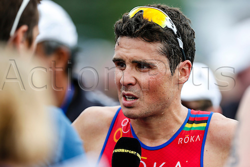 31.05.2014.  London, England.  Reigning world champion Javier GOMEZ (ESP) being interviewed after the ITU World Triathlon Elite Men's race being held in Hyde Park.