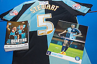 Anthony Stewart of Wycombe Wanderers shirt with programme during the Sky Bet League 2 match between Wycombe Wanderers and Mansfield Town at Adams Park, High Wycombe, England on 25 March 2016. Photo by Andy Rowland.
