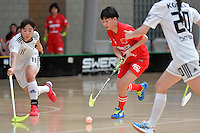 China's Lu Liu in action during the World Floorball Championships 2017 Qualification for Asia Oceania Region - Korea v China at ASB Sports Centre , Wellington, New Zealand on Saturday 4 February 2017.<br /> Photo by Masanori Udagawa<br /> www.photowellington.photoshelter.com.