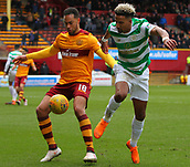 18th March 2018, Fir Park, Motherwell, Scotland; Scottish Premiership football, Motherwell versus Celtic;  Charles Dunne holds off the challenge from Scott Sinclair