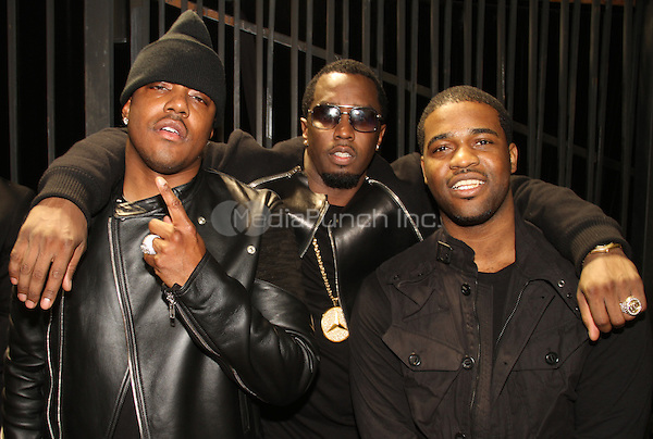 LOS ANGELES, CA - JANUARY 24: Mase, A$AP Ferg, P Diddy backstage at the Beats Music Official Launch Party from Beats by Dr. Dre at Belasco Theatre on January 24, 2014 in Los Angeles, California. Credit: Walik Goshorn/MediaPunch