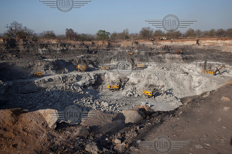 The Parej open cast coal mine. Its excavation has displaced  several Adivasi villages and farming communities. .