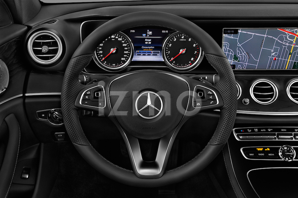 Car pictures of steering wheel view of a 2018 Mercedes Benz E-Class E300 4 Door Sedan Steering Wheel