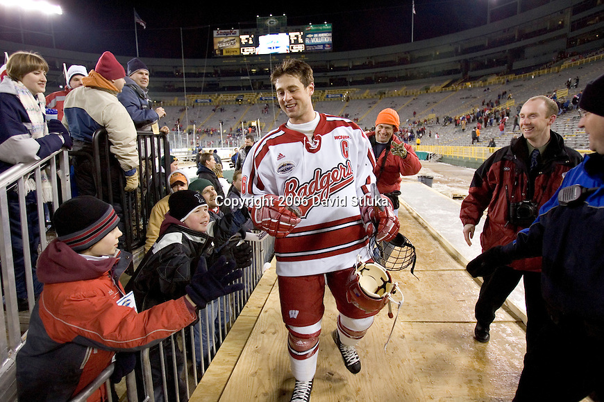 GREEN BAY, WI - FEBRUARY 11: Adam Burish #16 of the Wisconsin Badgers walks off the field after the game against the Ohio State Buckeyes at Lambeau Field on February  11, 2006 in Green Bay, Wisconsin. The Badgers defeated the Buckeyes 4-2. (Photo by David Stluka)